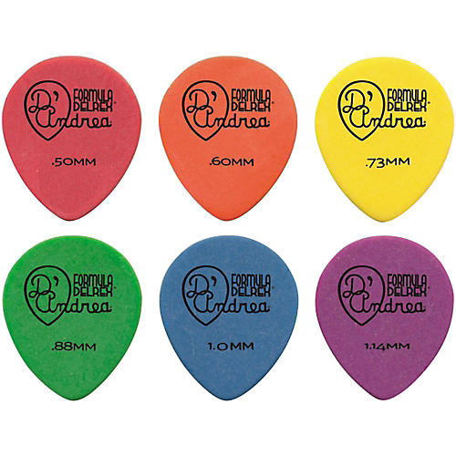 D'Andrea 347 Rounded Teardrop Delrex Delrin Guitar Picks - One Dozen-thumbnail
