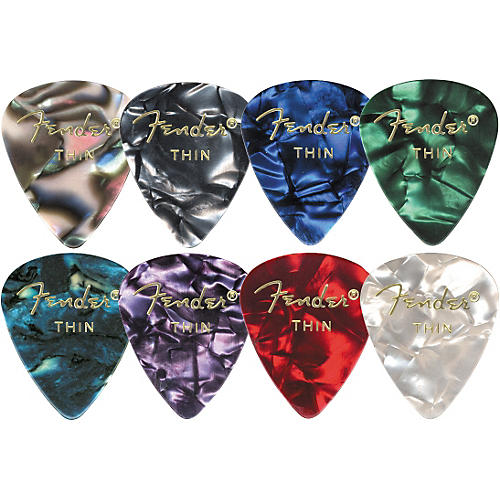 Fender 351 Premium Celluloid Guitar Picks  (12-Pack) Medium Red Moto Medium