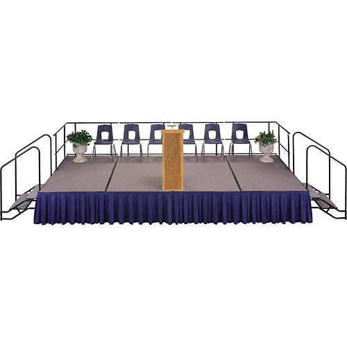 Midwest Folding Products 4' Deep X 8' Wide Single Height Portable Stage & Seated Riser 32 Inches High Pewter Gray Carpet