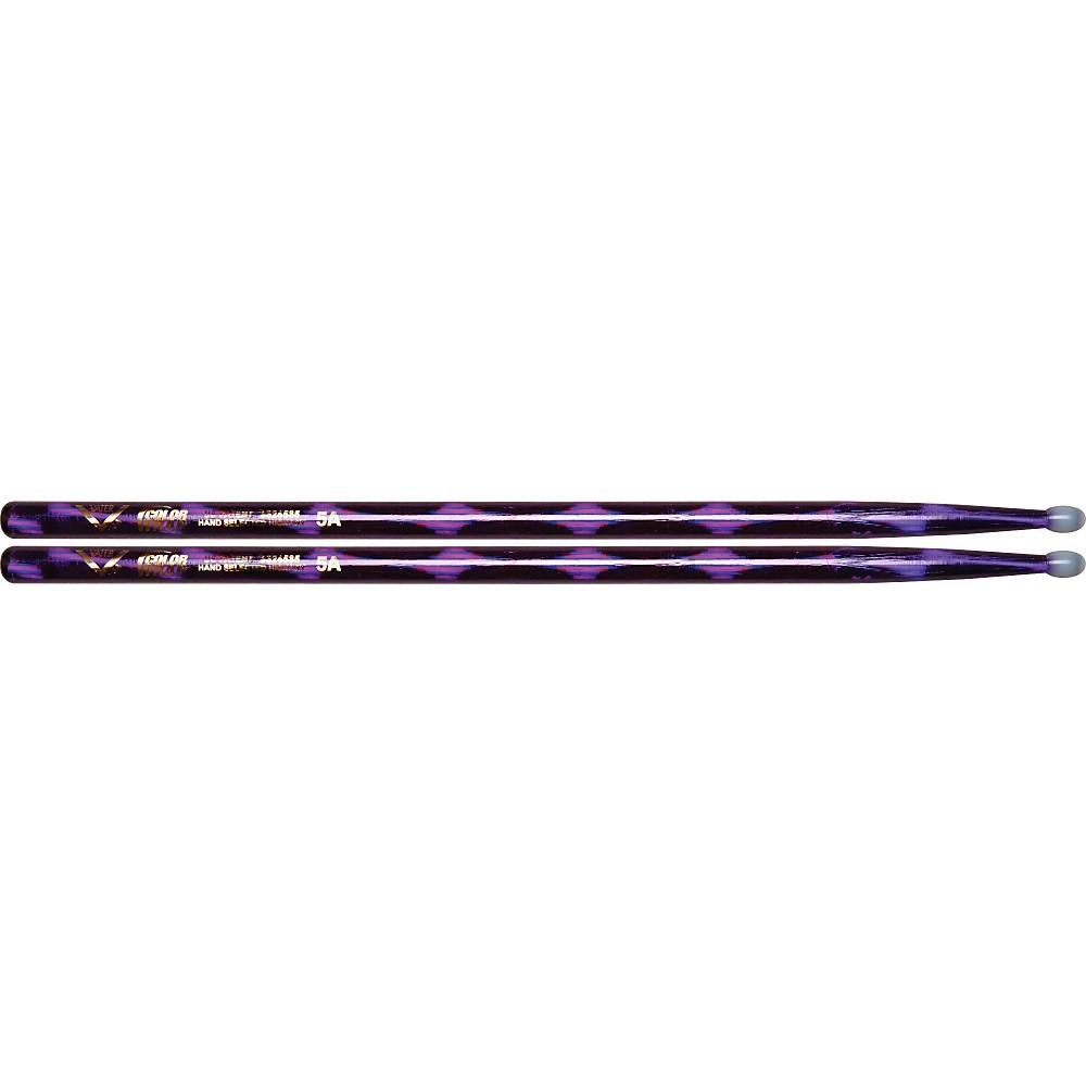 Vater Colorwrap Nylon Tip Sticks Pair Purple Optic 5A 1301341944562