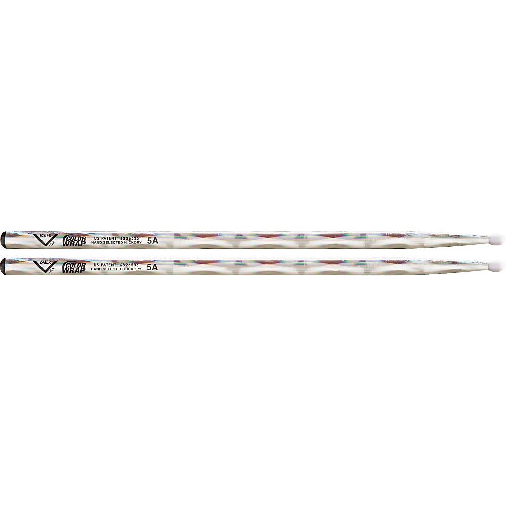 Vater Colorwrap Nylon Tip Sticks Pair Silver Optic 5A 1274115051624