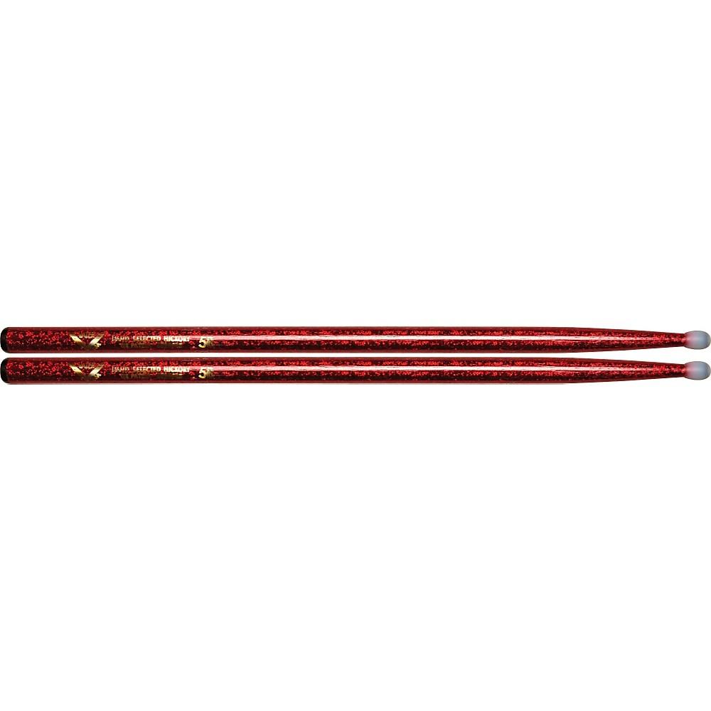 Vater Colorwrap Nylon Tip Sticks - Pair Red Sparkle 5B 1301341944533
