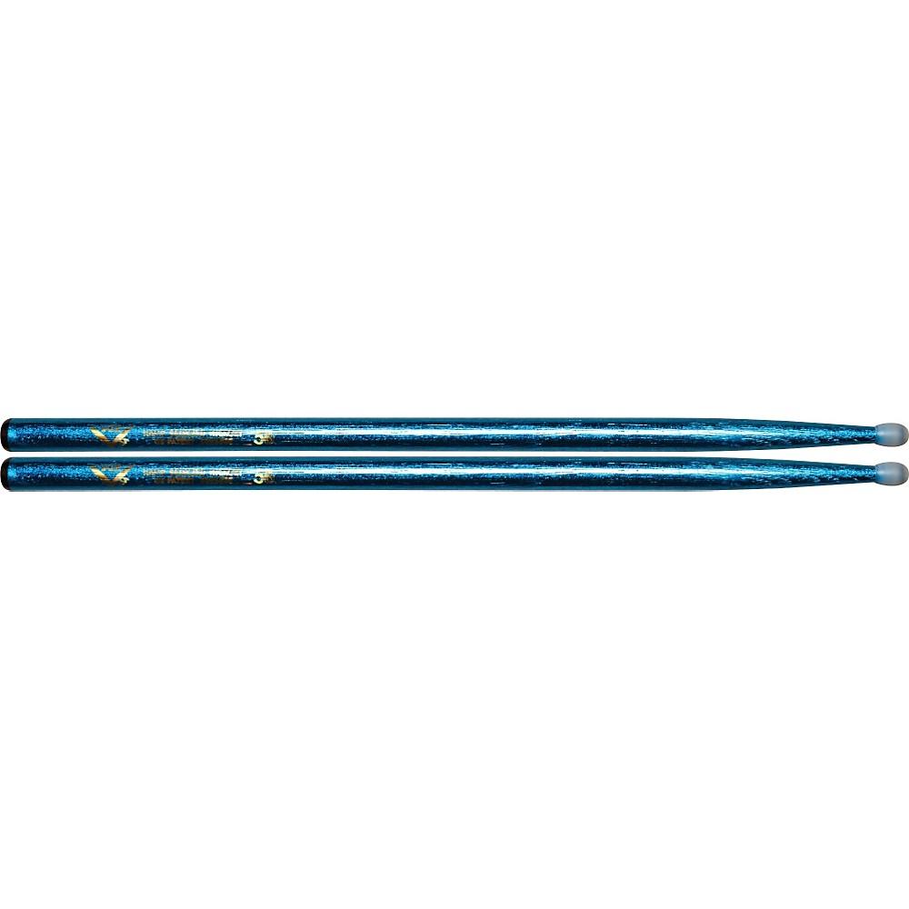 Vater Colorwrap Nylon Tip Sticks Pair Blue Sparkle 5B 1301341944596