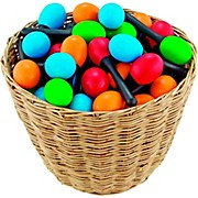 Nino 48-Piece Plastic Egg Maraca Assortment Set with Basket