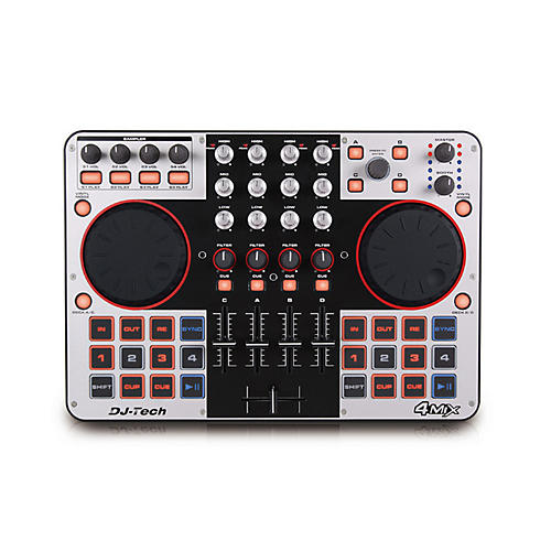 DJ TECH 4Mix 4-Deck DJ Controller with Integrated Audio Interface-thumbnail
