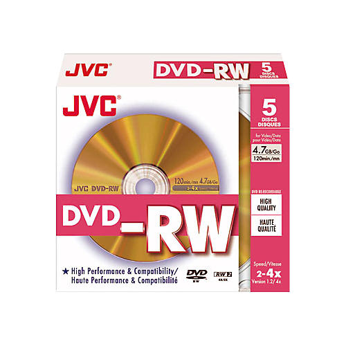 JVC 4X DVD-RW Photo-Grade Gold Jewel 5-Pack