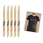 Vic Firth 5-Pair 5A Sticks, BSB with Free Vic Firth 50th Long Sleeve Shirt