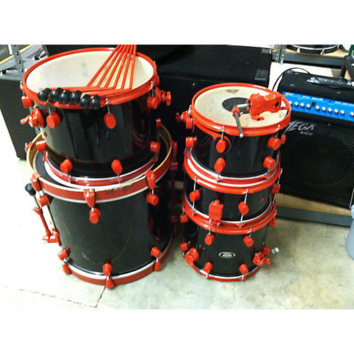 PDP by DW 5 Piece 805 Bebop Series Black And Red Drum Kit-thumbnail