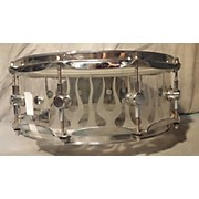 Spaun 5.5X14 Clear Snare Drum With Sandblasted Flames Drum