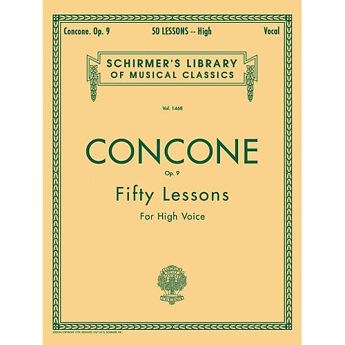 G. Schirmer 50 Lessons, Op. 9 by Concone for High Voice
