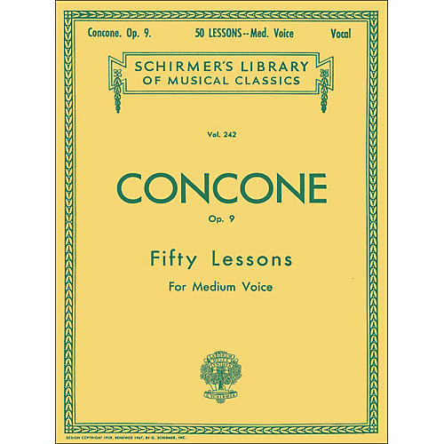 G. Schirmer 50 Lessons, Op. 9 by Concone for Medium Voice