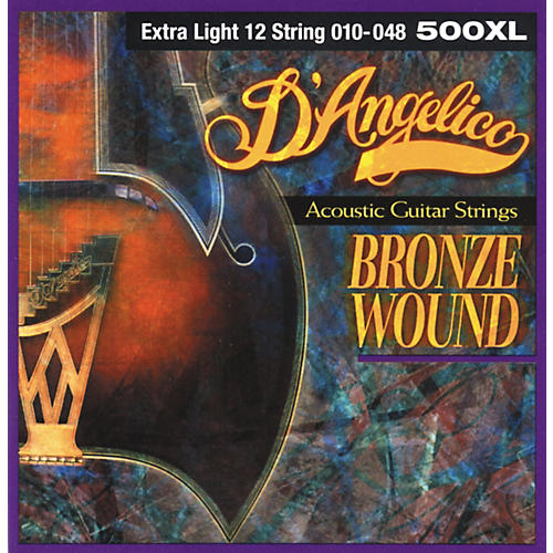 D'Angelico 500XL Bronze Wound Extra Light 12-String Acoustic Guitar Strings-thumbnail