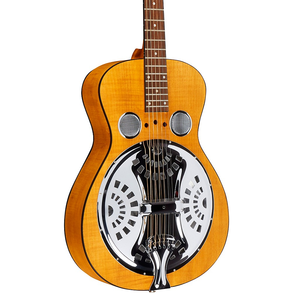 Dobro Hound Dog Deluxe Round Neck Acoustic-Electric With Pickup Vintage Brown 1274115035942