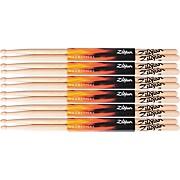 Zildjian 6 Pair Natural Hickory 5A Wood Drumsticks Plus 1 Pair Free