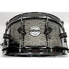 Ddrum 6.5X14 Reflex Tattooed Lady Engraved Black Steel Snare Drum
