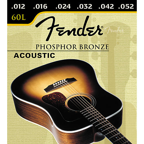 Fender 60L Phosphor Bronze Light Ball End Acoustic Guitar Strings-thumbnail
