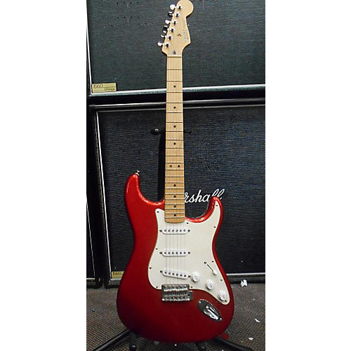 used fender 60th anniversary mexican stratocaster solid body electric guitar metallic red. Black Bedroom Furniture Sets. Home Design Ideas