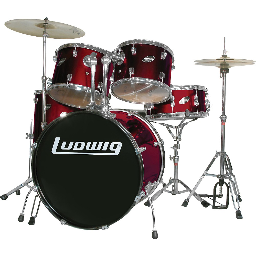 Ludwig Accent Series Complete Drum Set Wine 1300744185404