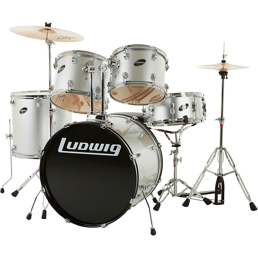 Ludwig Accent Series Complete Drum Set Silver 1300744185522