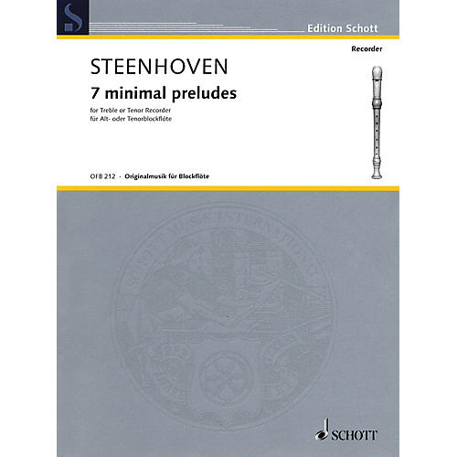 Schott 7 Minimal Preludes (Treble or Tenor Recorder) Woodwind Solo Series