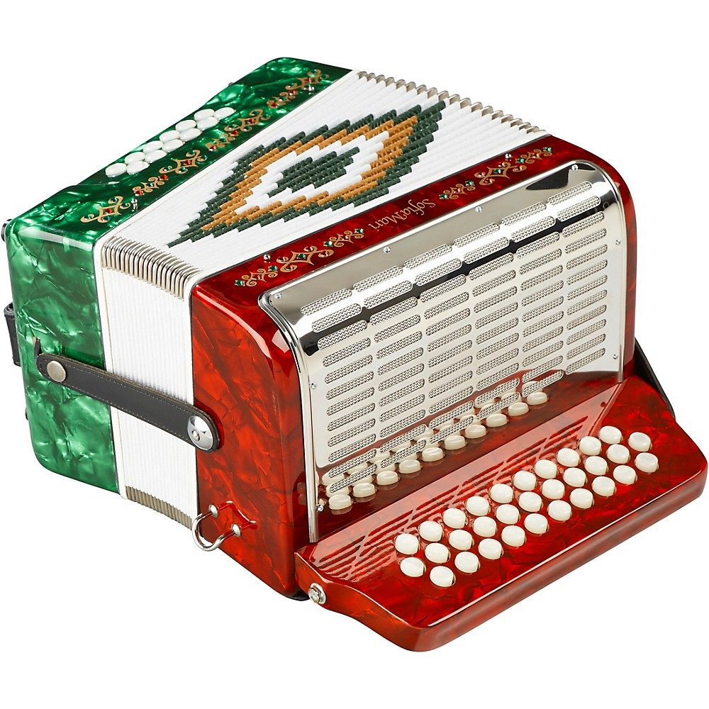 Sofiamari Sm-3112 31-Button 12 Bass Accordion Gcf Red & Green Pearl