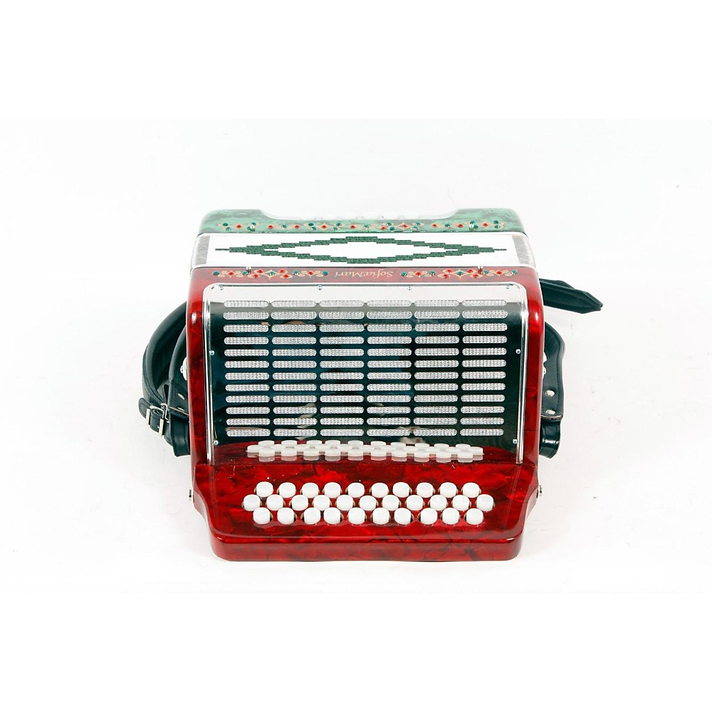 Sofiamari Sm-3112 31-Button 12 Bass Accordion Gcf Red & Green Pearl 888365276472