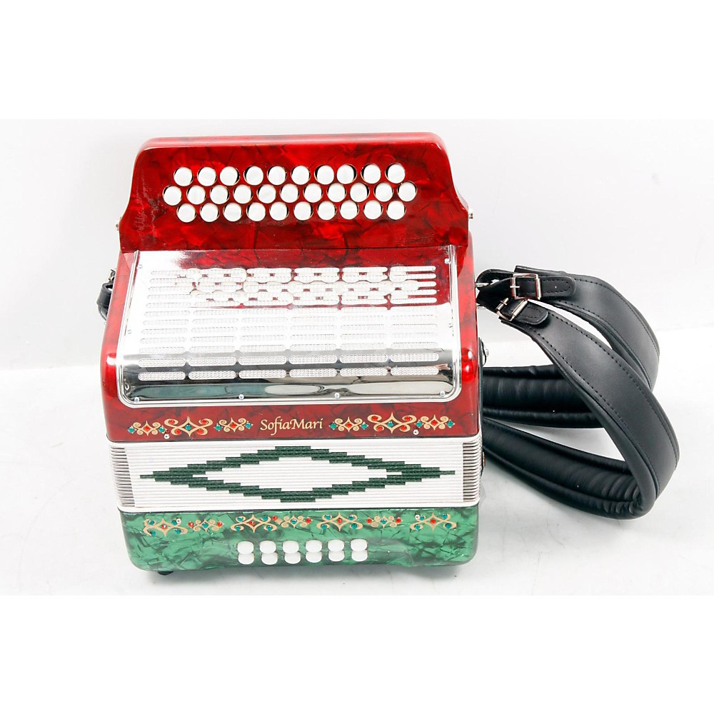 Sofiamari Sm-3112 31-Button 12 Bass Accordion Gcf Red And Green Pearl 888365469188