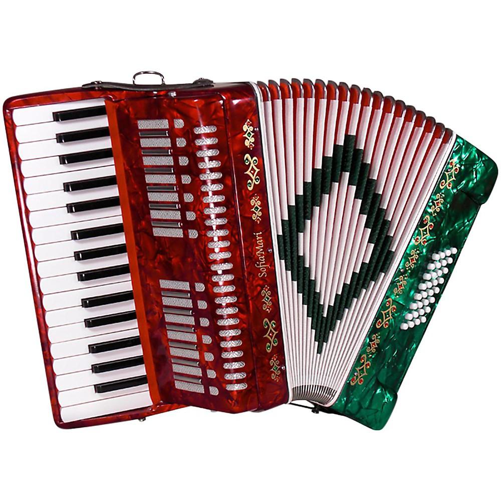 Sofiamari Sm-3232 32 Piano 32 Bass Accordion Red And Green Pearl