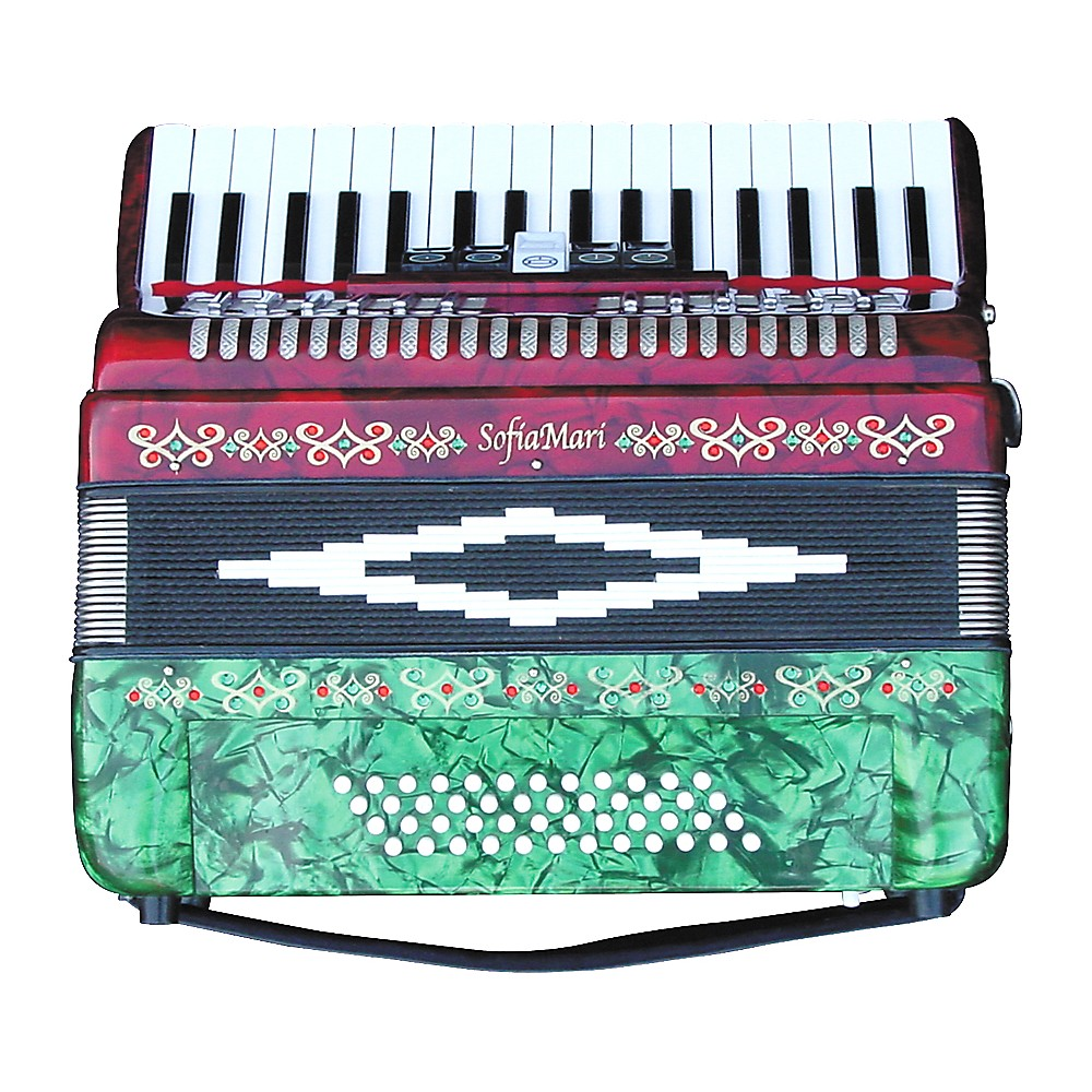 Sofiamari Sm-3448 34 Piano 48-Bass Accordion Red & Green Pearl
