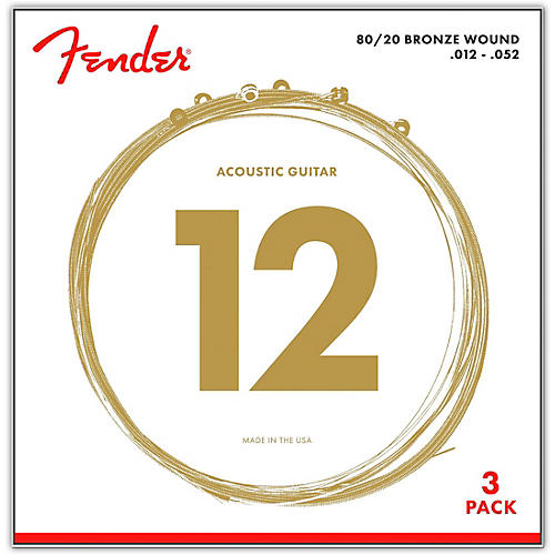 fender 70l 80 20 phosphore bronze acoustic guitar strings light gauge 12 52 3 pack guitar. Black Bedroom Furniture Sets. Home Design Ideas