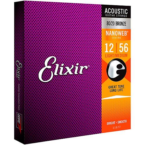 Elixir 80/20 Bronze Acoustic Guitar Strings with NANOWEB Coating, Light/Medium (.012-.056)