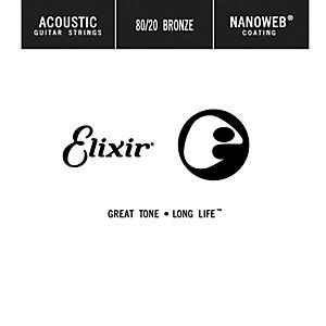 Elixir 80/20 Bronze Single Acoustic Guitar String with NANOWEB Coating .02...