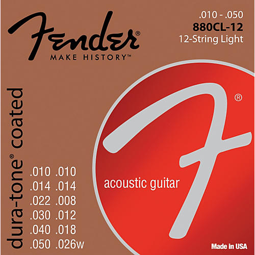 Fender 880CL-12 Coated 80/20 Bronze 12-String Acoustic Strings - Custom Light