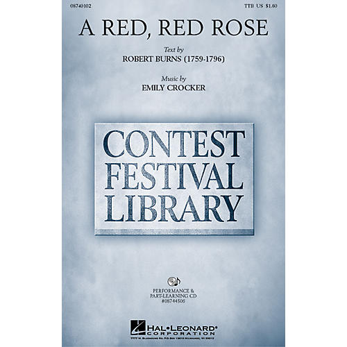 Hal Leonard A Red, Red Rose TTB composed by Emily Crocker