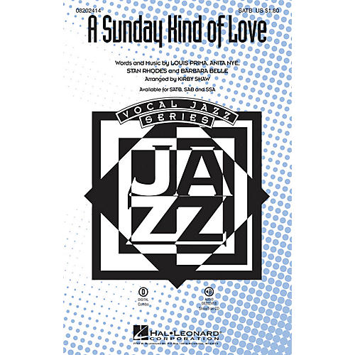 Hal Leonard A Sunday Kind of Love SAB Arranged by Kirby Shaw