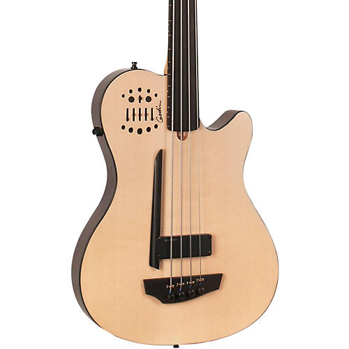 Godin A4 Ultra Natural Fretless SA Acoustic-Electric Bass Guitar Natural Ebony Fretboard-thumbnail
