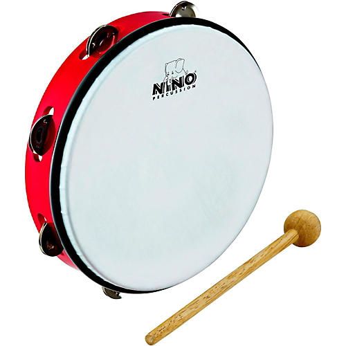 Nino ABS Jingle Drums Tambourine 10 in. Red