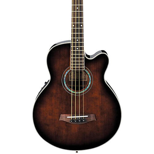 Ibanez AEB10E Acoustic-Electric Bass Guitar with Onboard Tuner Dark Violin Sunburst-thumbnail