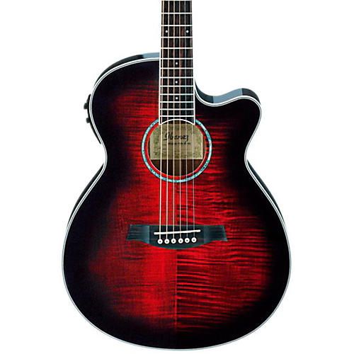 Ibanez AEG20II Flamed Sycamore Top Cutaway Acoustic-Electric Guitar Transparent Red Sunburst