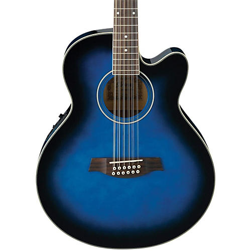 ibanez ael152etbs 12 string cutaway acoustic electric guitar transparent blue sunburst guitar. Black Bedroom Furniture Sets. Home Design Ideas