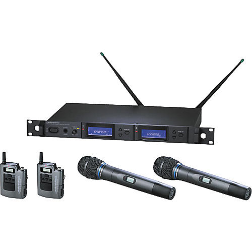 Audio-Technica AEW-5415 Artist Elite Dual Receiver Wireless System with Two Cardioid Condenser Mics and Two UniPak Transmitters-thumbnail