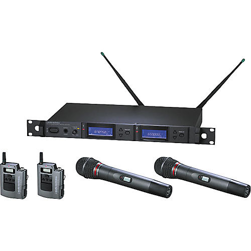 Audio-Technica AEW-5416 Artist Elite Dual Receiver Wireless System with Two Hypercardioid Dynamic Mics and Two UniPak Transmitters-thumbnail