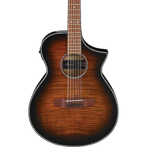 ibanez aewc4012fm 12 string acoustic electric guitar transparent tiger eye guitar center. Black Bedroom Furniture Sets. Home Design Ideas