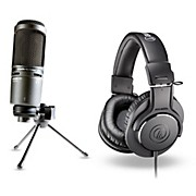 Audio-Technica AT2020USB+  USB Microphone with ATH-M20x headphones