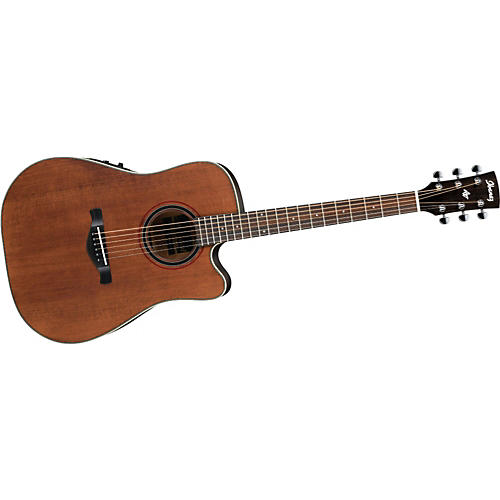 Ibanez AW250ECE Artwood Solid Top Dreadnought Cutaway Acoustic-Electric Guitar Rustic Brown