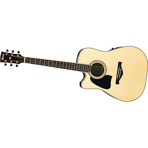 Ibanez AW300LECENT Artwood Solid Top Dreadnought Cutaway Left-Handed Acoustic-Electric Guitar Natural