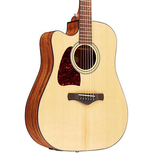 Ibanez AW400CENT Artwood Solid Top Dreadnought Left-Handed Acoustic-Electric Guitar Natural