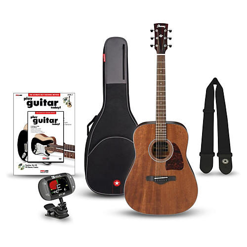Ibanez AW54OPN Artwood Solid Top Dreadnought Open Pore Acoustic Guitar Bundle