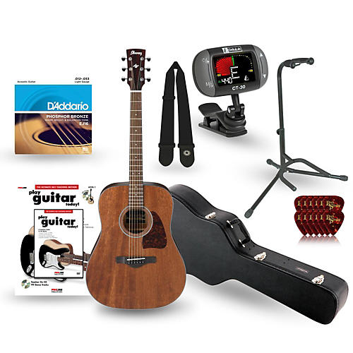 Ibanez AW54OPN Artwood Solid Top Dreadnought Open Pore Acoustic Guitar Deluxe Bundle-thumbnail