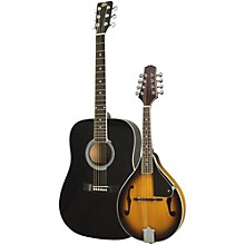 Acoustic Guitar and Mandolin Pack Black Sunburst